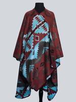 Rockmount Ranch Wear Accessory: Poly Fleece Poncho Brick Turquoise