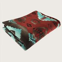 A Rockmount Ranch Wear Blanket: Native American Design Brick Turquoise