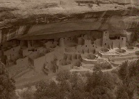 Photographer In The Lens, Bill Birkemeier: Art Print Mesa Verde, Cliff Palace 1 Sepia