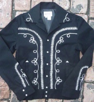 Rockmount Ranch Wear Men's Vintage Western Jacket: Gabardine Embroidered Bolero Black Backordered