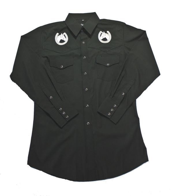 White Horse Men's Vintage Western Shirt: Embroidered Horse Head Black