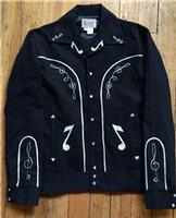 Rockmount Ranch Wear Men's Vintage Western Jacket: Gabardine Embroidered Bolero Musical Notes Black Backordered