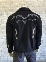 Rockmount Ranch Wear Men's Vintage Western Jacket: Gabardine Embroidered Bolero Musical Notes Black 2X