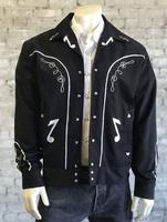 Rockmount Ranch Wear Men's Vintage Western Jacket: Gabardine Embroidered Bolero Musical Notes Backordered