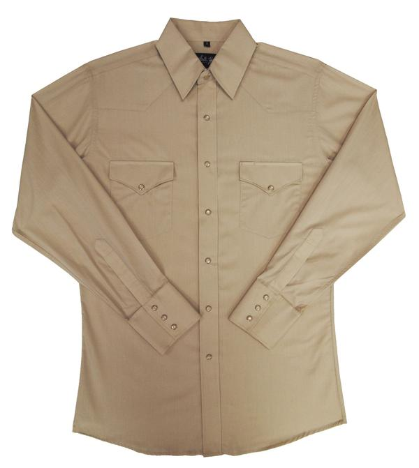 White Horse Men's Western Shirt: Solid Broadcloth Stone