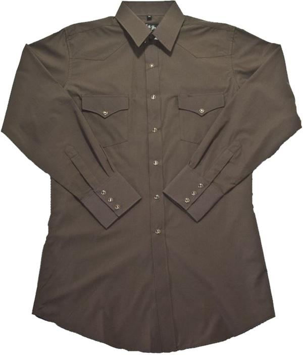 White Horse Men's Western Shirt: Solid Broadcloth Chocolate