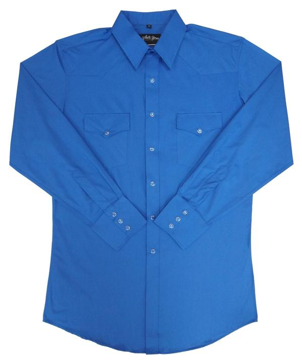 White Horse Men's Western Shirt: Solid Broadcloth Royal