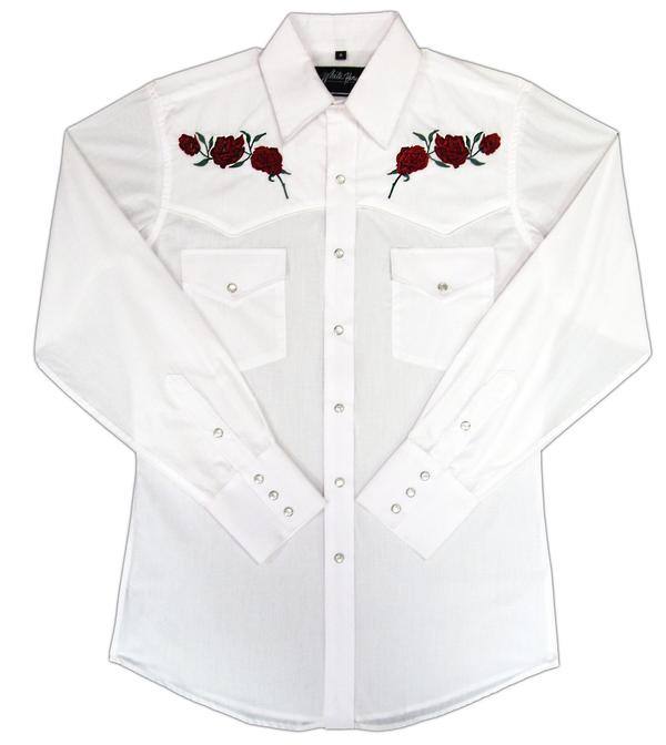 White Horse Men's Vintage Western Shirt: Embroidered Red Roses White