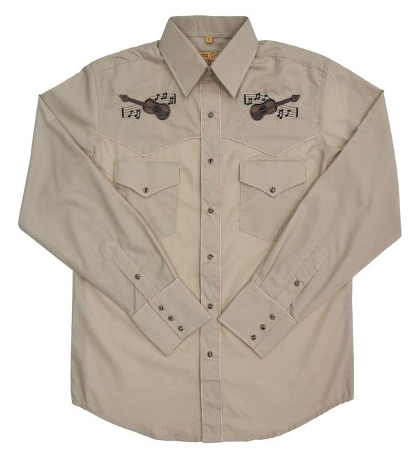 White Horse Men's Vintage Western Shirt: Embroidered Guitar Stone