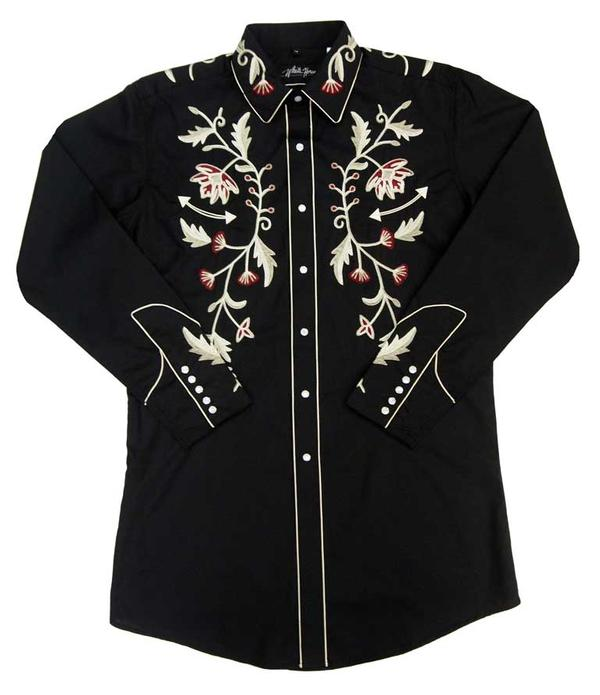 White Horse Men's Shirt Long Sleeve: Embroidered Vintage Floral Black S-2XL