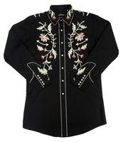 White Horse Men's Vintage Western Shirt:  Embroidered Floral Black Backordered