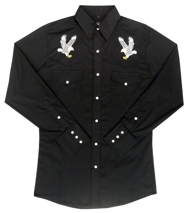 White Horse Men's Vintage Western Shirt: Embroidered Eagle Black
