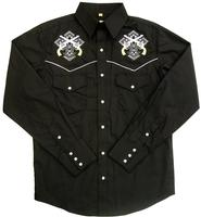 White Horse Men's Vintage Western Shirt: Embroidered Cross Pistols Black