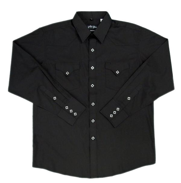 White Horse Men's Western Shirt: Solid Classic Pocket Black