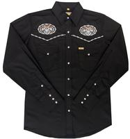 White Horse Men's Vintage Western Shirt: Embroidered Skull Pistols Black