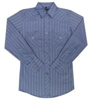 White Horse Men's Western Shirt: Print Stripe Navy