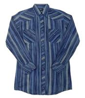 ZSold White Horse Men's Western Shirt: Print Stripe Navy Blue S-2XL SOLD