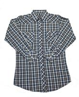 White Horse Men's Western Shirt: Plaid A Blue Black