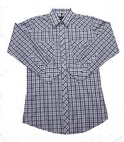White Horse Men's Western Shirt: Plaid B Blue Tan M-4XL