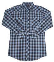 White Horse Men's Western Shirt: Plaid Check Blue Black