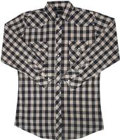 White Horse Men's Western Shirt: Plaid Check Black Tan