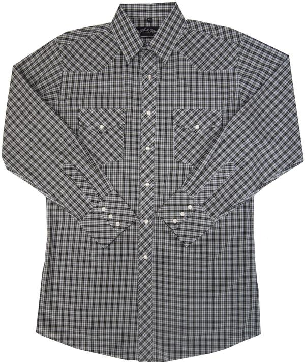 White Horse Men's Western Shirt: Plaid C Black White