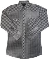 White Horse Men's Western Shirt: Plaid C Black White M-2XL