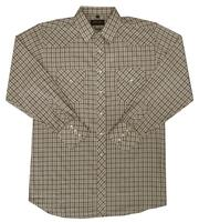 White Horse Men's Western Shirt: Plaid C Tan Black