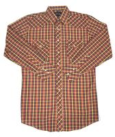 White Horse Men's Western Shirt: Plaid D Blue Red Gold