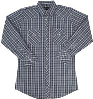 White Horse Men's Western Shirt: Plaid D Blue White