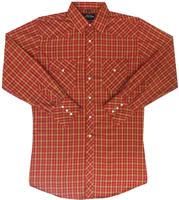 White Horse Men's Western Shirt: Plaid D Red Gold White