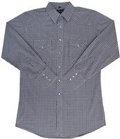 White Horse Men's Western Shirt: Plaid Check Mini White Blue Black