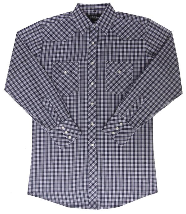 White Horse Men's Western Shirt: Plaid Check Medium Purple Black White M-2XL