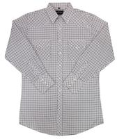 White Horse Men's Western Shirt: Plaid Check Medium White Navy