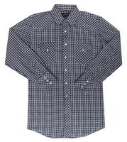 White Horse Men's Western Shirt: Plaid Check Medium Navy White
