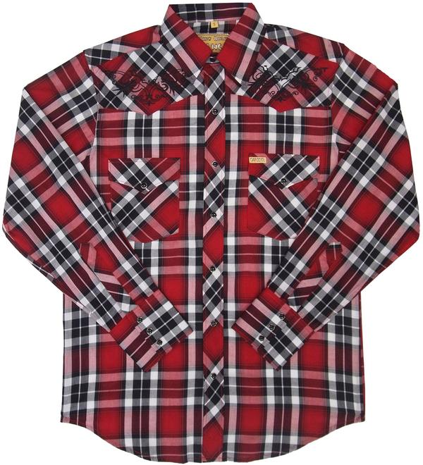 White Horse Men's Vintage Western Shirt: Embroidered Plaid