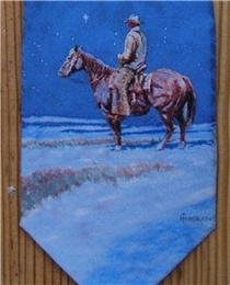 Rockmount Ranch Wear Accessory: Necktie Harold Holden Snow Painting Silk Back Ordered