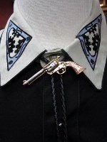 Rockmount Ranch Wear Accessory: Bolo Tie Pistol 38 Special Tri-Color Backordered