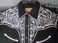 Scully Men's Vintage Western Shirt: Fancy Embroidery Black with White S-2X Big/Tall 3X-4X