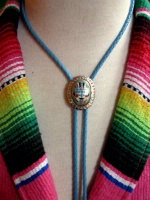 ZSold Ranch Wear Accessory: Bolo Tie Native American Inspired Blue Cord SOLD