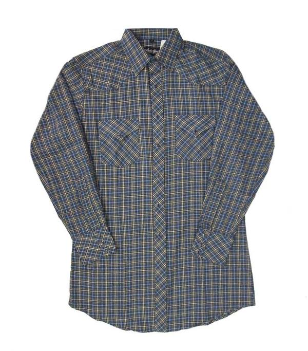 White Horse Men's Shirt Long Sleeve: Print Plaid Flannel Blue or Red S-2XL