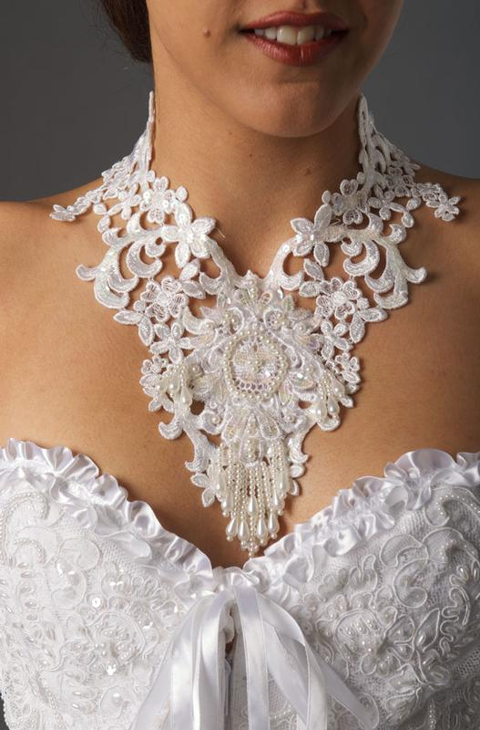 Ann N Eve Collection: Western Wedding Accessory Choker Lace Sequined White One Size