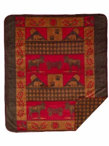 Denali® Rustic Collection: Moose Bear Reverse Gold Taupe Check Throw Blanket