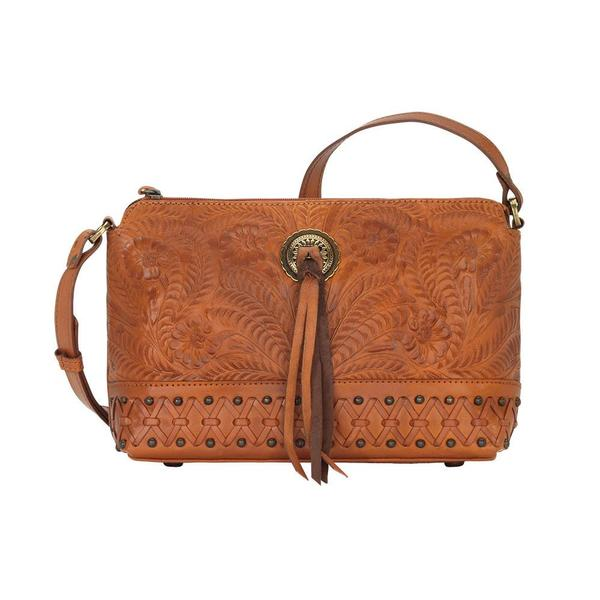 A American West Handbag Dove Canyon Collection: Leather Crossbody Golden Tan