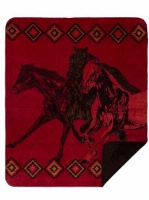 Denali® Western Collection: Wild Horses Red Reverse Chocolate Throw Blanket
