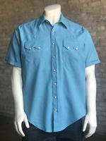 Rockmount Ranch Wear Men's Western Shirt: Solid Short Sleeves UV Aqua Backordered