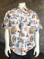 Rockmount Ranch Wear Men's Western Shirt: Print Short Sleeve RT 66 Natural Backordered