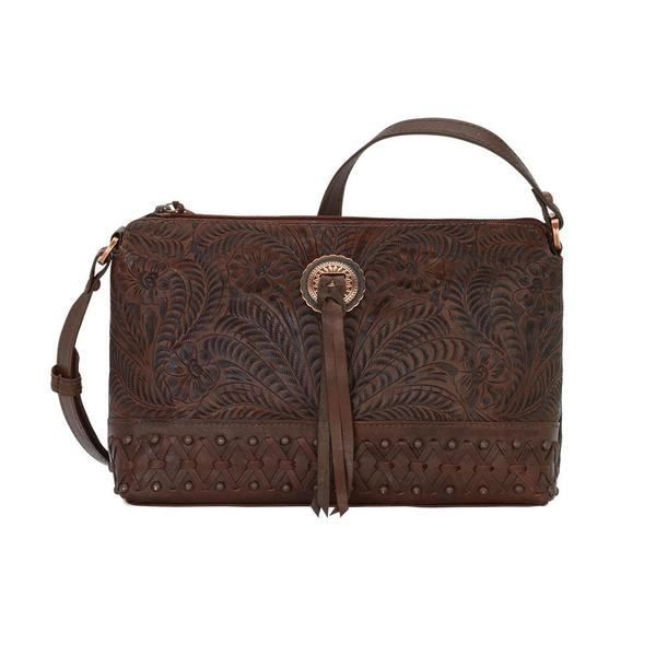 A American West Handbag Dove Canyon Collection: Leather Crossbody Chestnut Brown