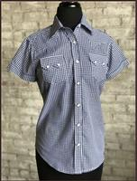 Rockmount Ranch Wear Ladies' Western Shirt: Short Sleeves Gingham Navy Backordered