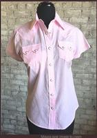 Rockmount Ranch Wear Ladies' Western Shirt: Short Sleeves Gingham Pink Backordered